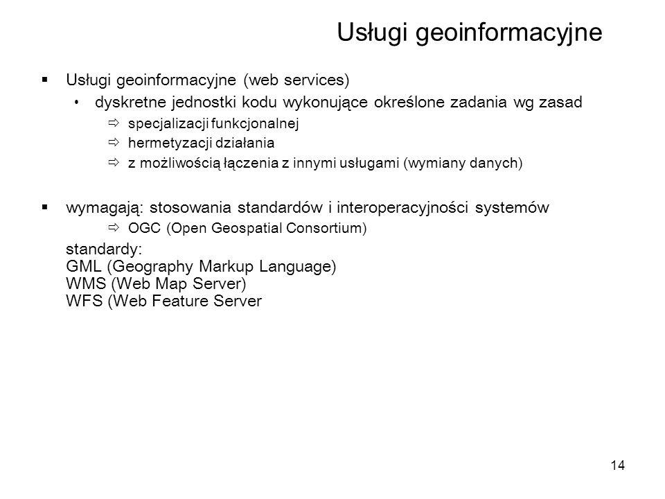 14 Usługi geoinformacyjne  Usługi geoinformacyjne (web services) dyskretne jednostki kodu wykonujące określone zadania wg zasad  specjalizacji funkcjonalnej  hermetyzacji działania  z możliwością łączenia z innymi usługami (wymiany danych)  wymagają: stosowania standardów i interoperacyjności systemów  OGC (Open Geospatial Consortium) standardy: GML (Geography Markup Language) WMS (Web Map Server) WFS (Web Feature Server