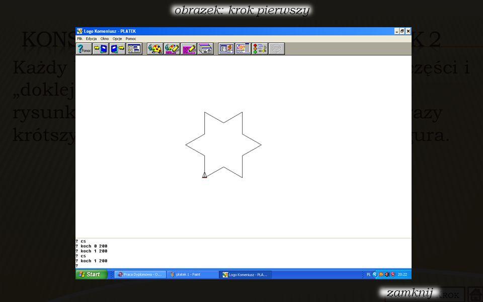 Każdy bok gwiazdy dzielimy znowu na trzy równe części i do części środkowej doklejamy trójkąt równoboczny o boku trzy razy krótszym niż poprzednio i postępujemy analogicznie, Teraz gwiazdka ma już 192 boki.