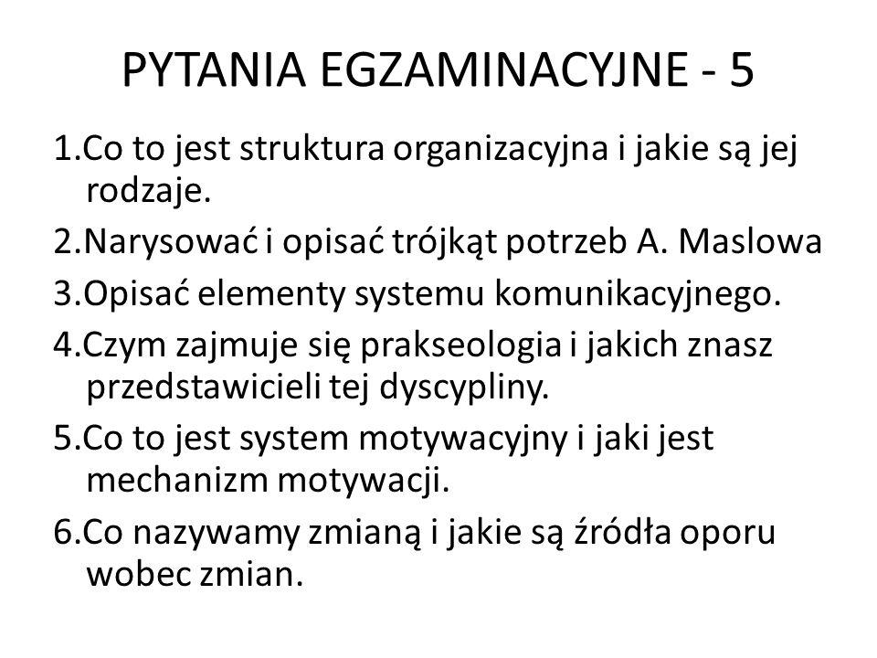 PYTANIA EGZAMINACYJNE - 5 1.Co to jest struktura organizacyjna i jakie są jej rodzaje. 2.Narysować i opisać trójkąt potrzeb A. Maslowa 3.Opisać elemen