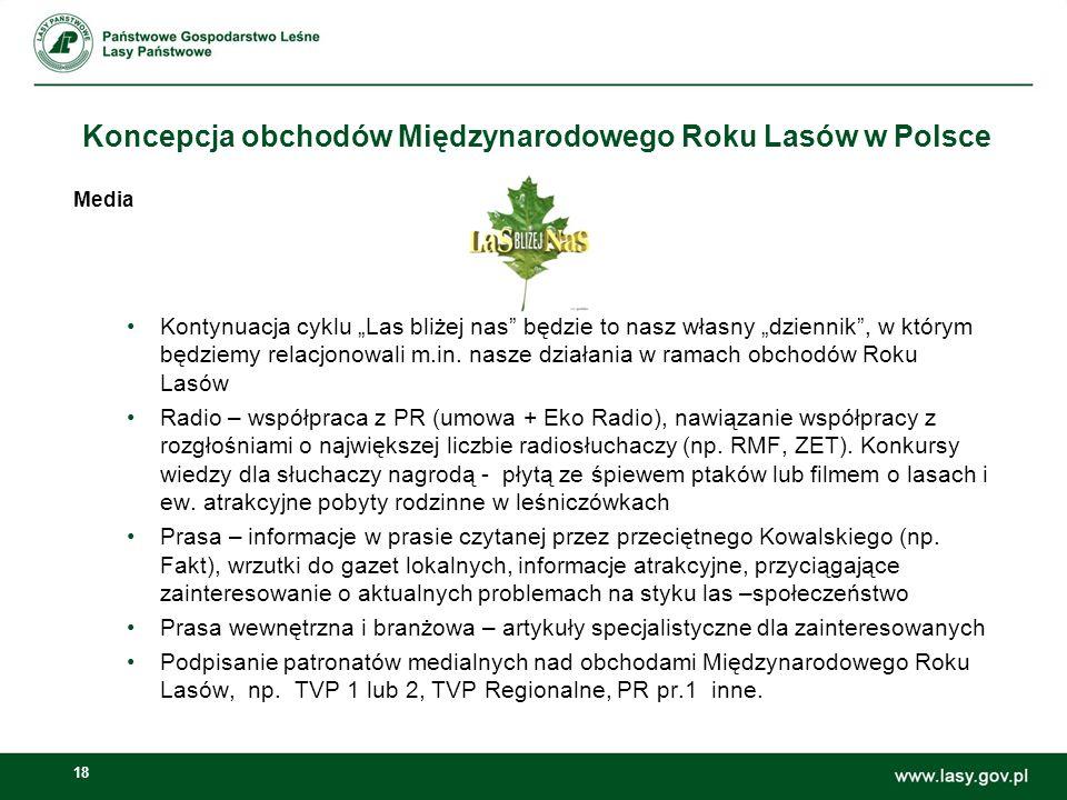 """18 Koncepcja obchodów Międzynarodowego Roku Lasów w Polsce Media Kontynuacja cyklu """"Las bliżej nas"""" będzie to nasz własny """"dziennik"""", w którym będziem"""