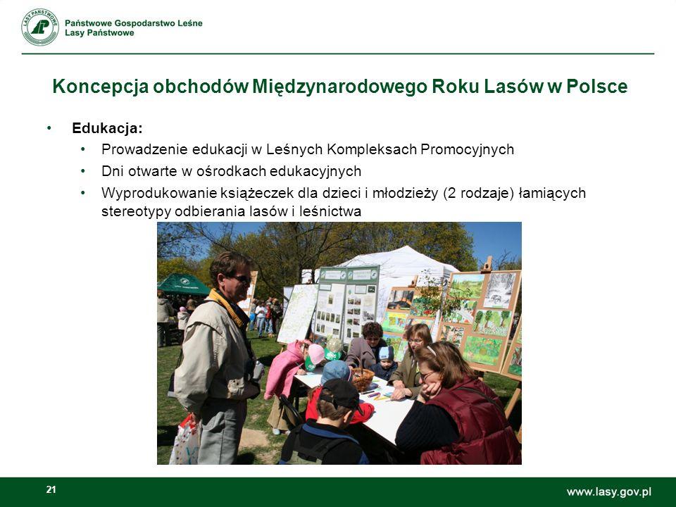 21 Koncepcja obchodów Międzynarodowego Roku Lasów w Polsce Edukacja: Prowadzenie edukacji w Leśnych Kompleksach Promocyjnych Dni otwarte w ośrodkach edukacyjnych Wyprodukowanie książeczek dla dzieci i młodzieży (2 rodzaje) łamiących stereotypy odbierania lasów i leśnictwa