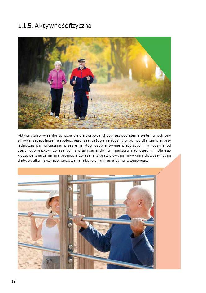 18 1.1.5. Aktywność fizyczna Aktywny zdrowy senior to wsparcie dla gospodarki poprzez odciążenie systemu ochrony zdrowia, zabezpieczenia społecznego,