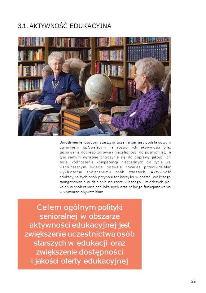 35 Umożliwienie osobom starszym uczenia się jest podstawowym czynnikiem wpływającym na rozwój ich aktywności oraz zachowanie dobrego zdrowia i niezależności do późnych lat, a tym samym wyraźnie przyczynia się do poprawy jakości ich życia.
