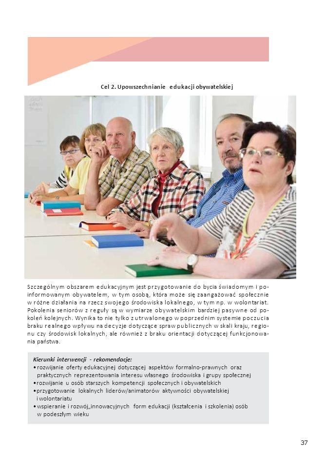 """37 Kierunki interwencji - rekomendacje: rozwijanie oferty edukacyjnej dotyczącej aspektów formalno-prawnych oraz praktycznych reprezentowania interesu własnego środowiska i grupy społecznej rozwijanie u osób starszych kompetencji społecznych i obywatelskich przygotowanie lokalnych liderów/animatorów aktywności obywatelskiej i wolontariatu wspieranie i rozwój""""innowacyjnych form edukacji (kształcenia i szkolenia) osób w podeszłym wieku Cel 2."""