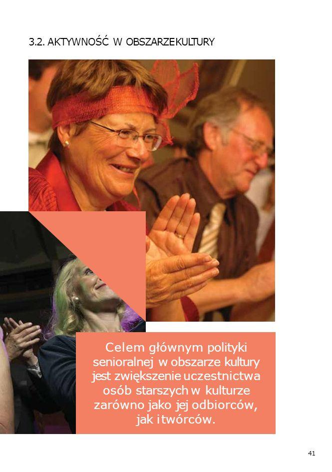 41 3.2. AKTYWNOŚĆ W OBSZARZE KULTURY Celem głównym polityki senioralnej w obszarze kultury jest zwiększenie uczestnictwa osób starszych w kulturze zar