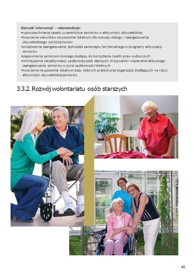 45 Kierunki interwencji - rekomendacje: upowszechnianie zasady uczestnictwa seniorów w aktywności obywatelskiej tworzenie warunków na poziomie lokalnym dla rozwoju dialogu i zaangażowania obywatelskiego wśród seniorów zwiększenie zaangażowania jednostek samorządu terytorialnego w programy aktywizacji seniorów zapewnienie seniorom równego dostępu do korzystania z pełni praw wyborczych zmniejszenie dezaktywizacji społecznej osób starszych, inicjowanie i wspieranie aktywnego zaangażowania seniorów w życie społeczności lokalnych tworzenie na poziomie lokalnym bazy dobrych praktyk oraz organizacji działających na rzecz aktywności obywatelskiej seniorów 3.3.2.