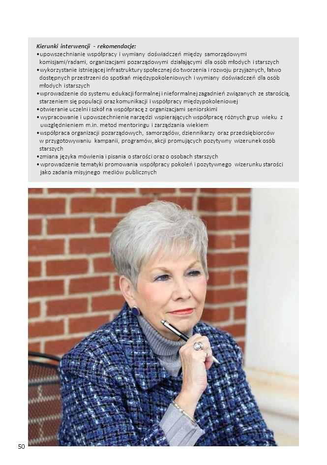 50 Kierunki interwencji - rekomendacje: upowszechnianie współpracy i wymiany doświadczeń między samorządowymi komisjami/radami, organizacjami pozarządowymi działającymi dla osób młodych i starszych wykorzystanie istniejącej infrastruktury społecznej do tworzenia i rozwoju przyjaznych, łatwo dostępnych przestrzeni do spotkań międzypokoleniowych i wymiany doświadczeń dla osób młodych i starszych wprowadzenie do systemu edukacji formalnej i nieformalnej zagadnień związanych ze starością, starzeniem się populacji oraz komunikacji i współpracy międzypokoleniowej otwieranie uczelni i szkół na współpracę z organizacjami seniorskimi wypracowanie i upowszechnienie narzędzi wspierających współpracę różnych grup wieku z uwzględnieniem m.in.