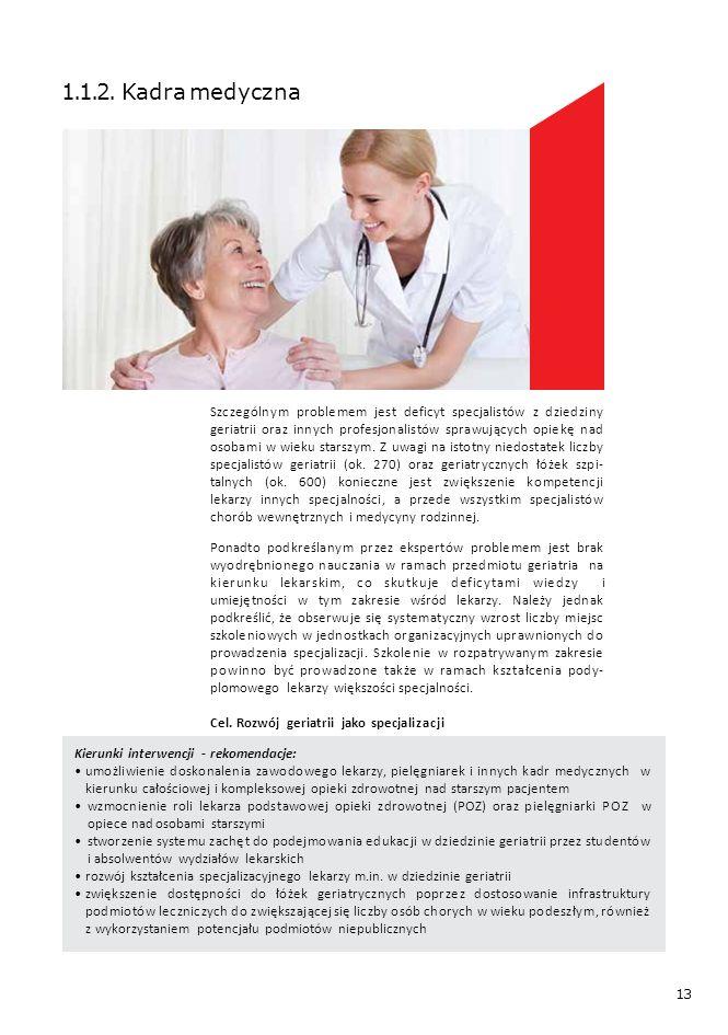 13 1.1.2. Kadra medyczna Szczególnym problemem jest deficyt specjalistów z dziedziny geriatrii oraz innych profesjonalistów sprawujących opiekę nad os