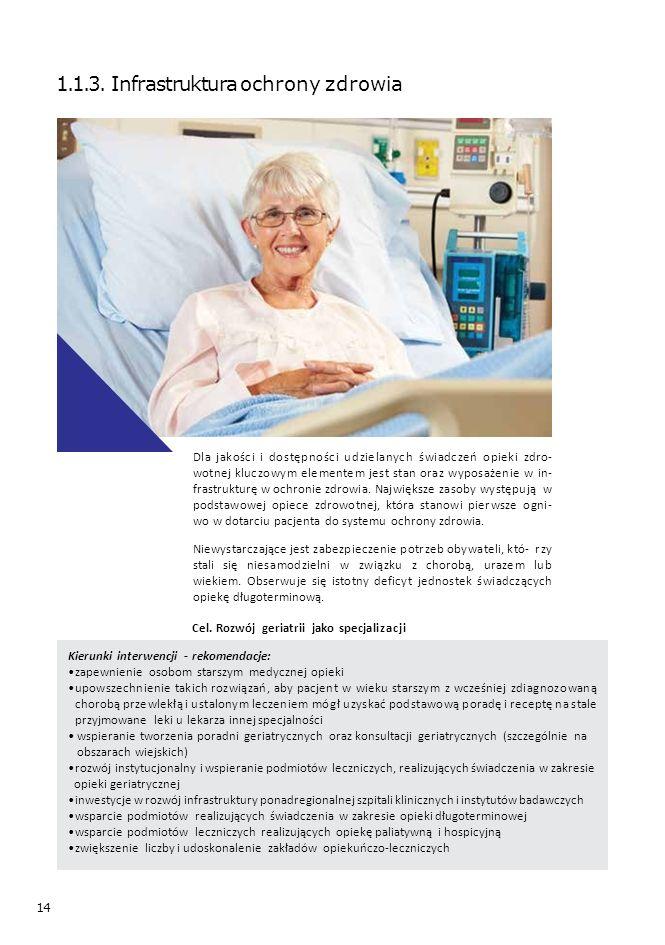 14 1.1.3. Infrastruktura ochrony zdrowia Dla jakości i dostępności udzielanych świadczeń opieki zdro- wotnej kluczowym elementem jest stan oraz wyposa