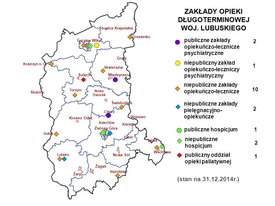 Rozmieszczenie łóżek opieki długoterminowej na terenie województwa lubuskiego wg stanu na 31-12-2014