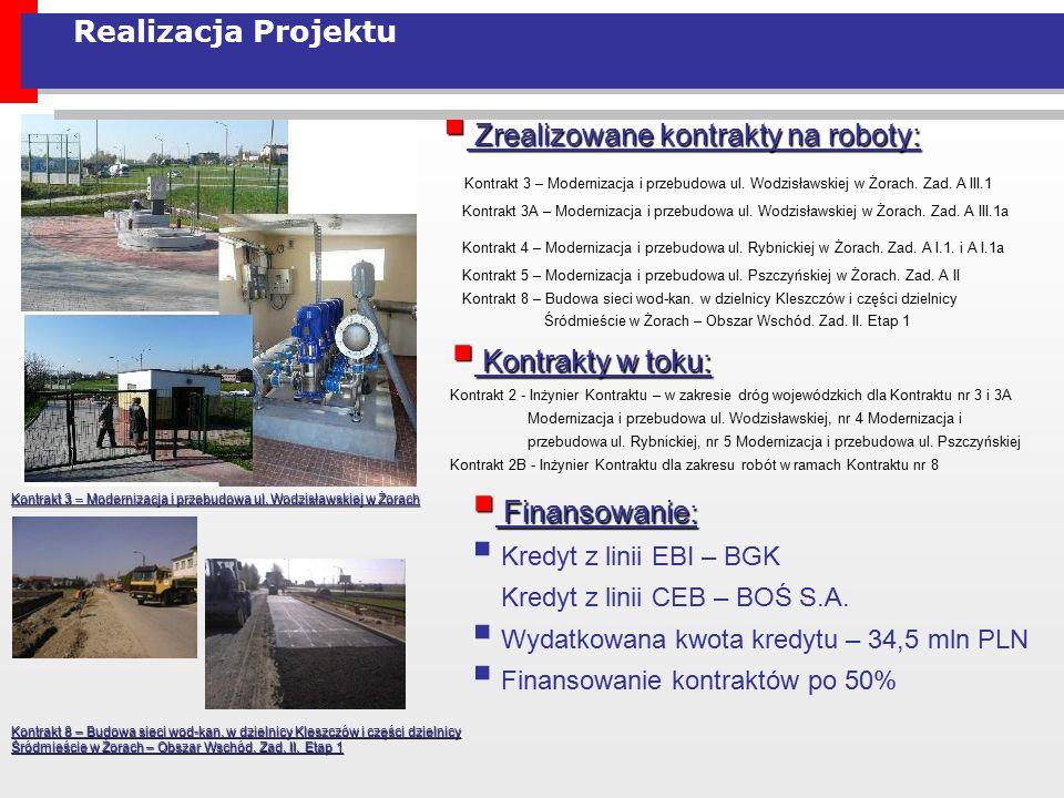Realizacja Projektu  Zrealizowane kontrakty na roboty: Kontrakt 3 – Modernizacja i przebudowa ul. Wodzisławskiej w Żorach. Zad. A III.1 Kontrakt 3A –