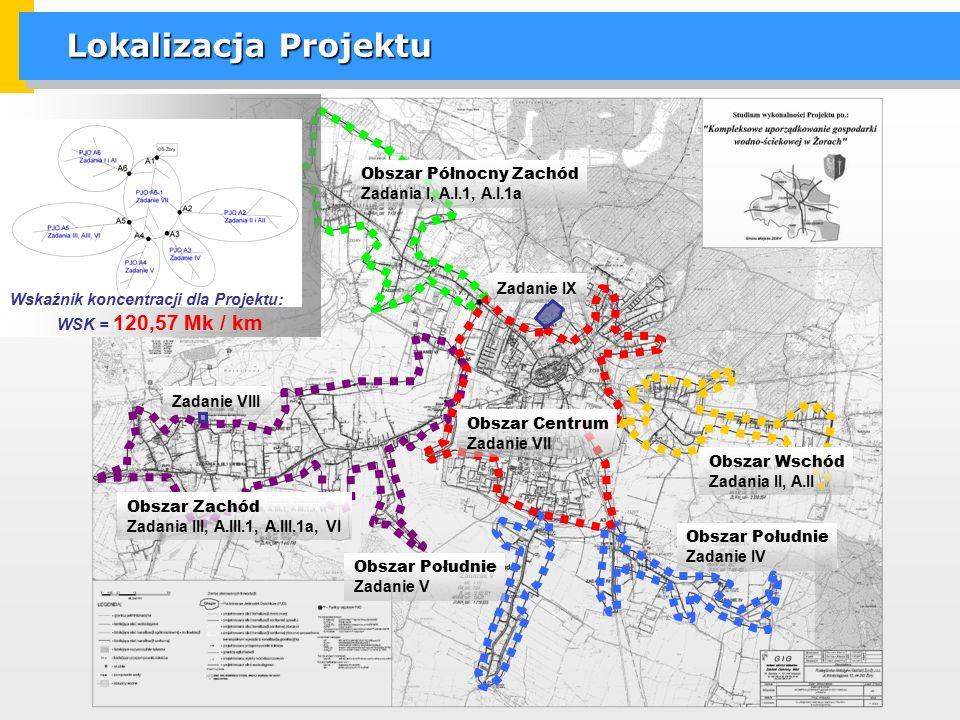 Lokalizacja Projektu Obszar Wschód Zadania II, A.II Obszar Północny Zachód Zadania I, A.I.1, A.I.1a Obszar Zachód Zadania III, A.III.1, A.III.1a, VI Obszar Południe Zadanie IV Obszar Południe Zadanie V Obszar Centrum Zadanie VII Zadanie IX Zadanie VIII WSK = 120,57 Mk / km Wskaźnik koncentracji dla Projektu: