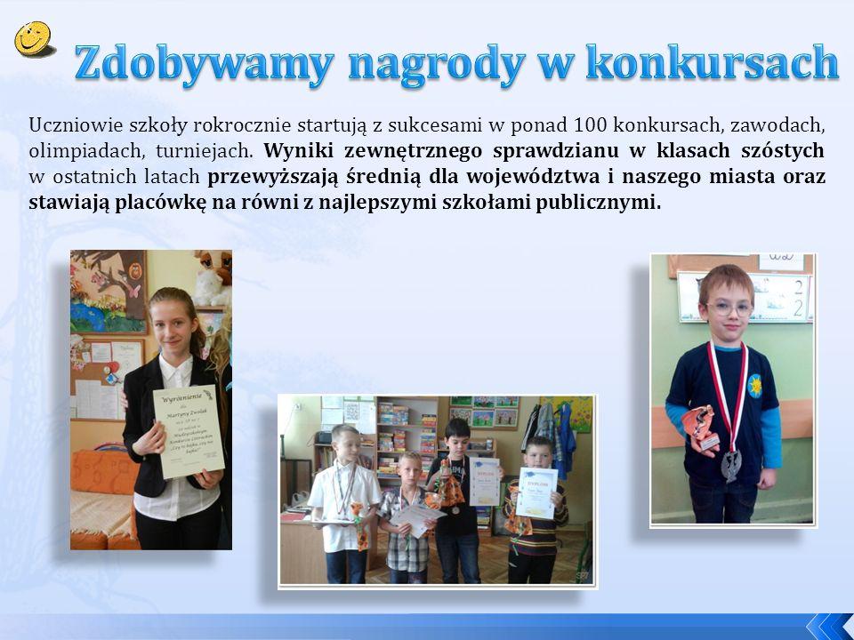 Uczniowie szkoły rokrocznie startują z sukcesami w ponad 100 konkursach, zawodach, olimpiadach, turniejach. Wyniki zewnętrznego sprawdzianu w klasach
