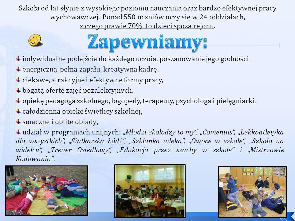 """indywidualne podejście do każdego ucznia, poszanowanie jego godności, energiczną, pełną zapału, kreatywną kadrę, ciekawe, atrakcyjne i efektywne formy pracy, bogatą ofertę zajęć pozalekcyjnych, opiekę pedagoga szkolnego, logopedy, terapeuty, psychologa i pielęgniarki, całodzienną opiekę świetlicy szkolnej, smaczne i obfite obiady, udział w programach unijnych: """"Młodzi ekolodzy to my , """"Comenius , """"Lekkoatletyka dla wszystkich , """"Siatkarska Łódź , """"Szklanka mleka , """"Owoce w szkole , """"Szkoła na widelcu , """"Trener Osiedlowy , """"Edukacja przez szachy w szkole i """"Mistrzowie Kodowania ."""