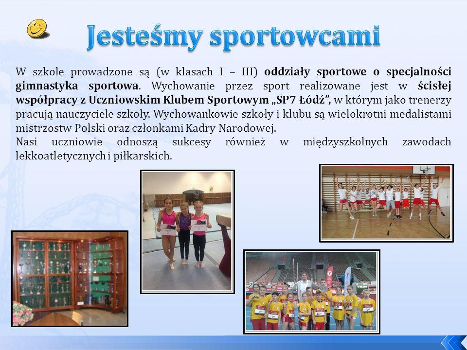 W szkole prowadzone są (w klasach I – III) oddziały sportowe o specjalności gimnastyka sportowa.