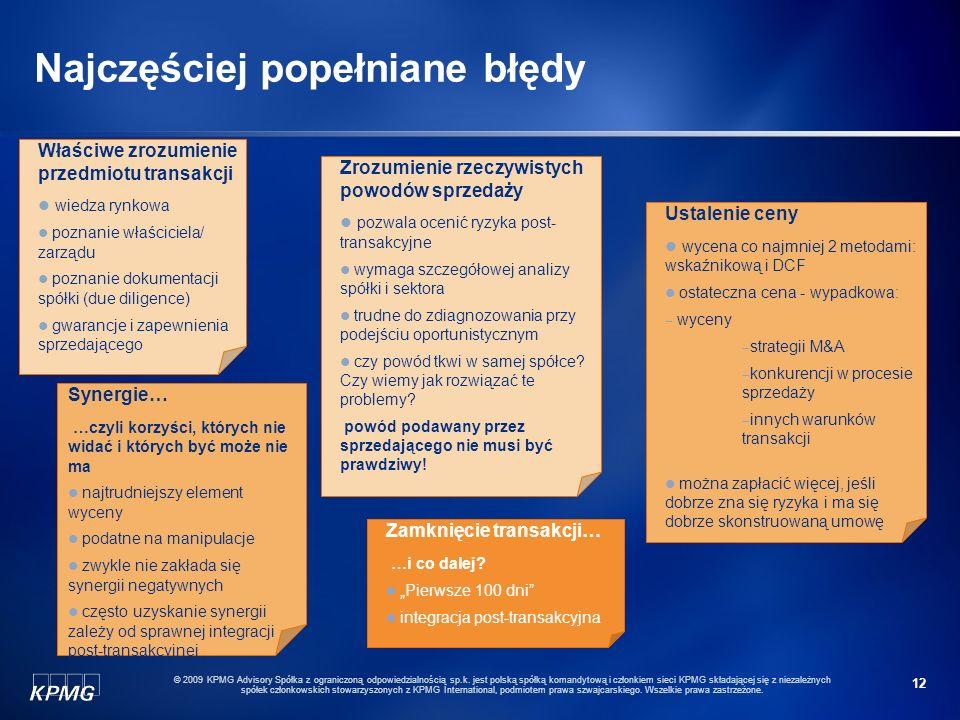 12 © 2009 KPMG Advisory Spółka z ograniczoną odpowiedzialnością sp.k. jest polską spółką komandytową i członkiem sieci KPMG składającej się z niezależ