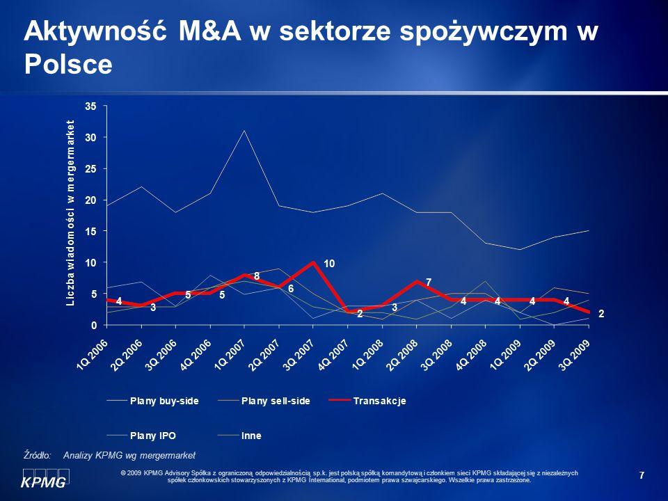 7 © 2009 KPMG Advisory Spółka z ograniczoną odpowiedzialnością sp.k. jest polską spółką komandytową i członkiem sieci KPMG składającej się z niezależn