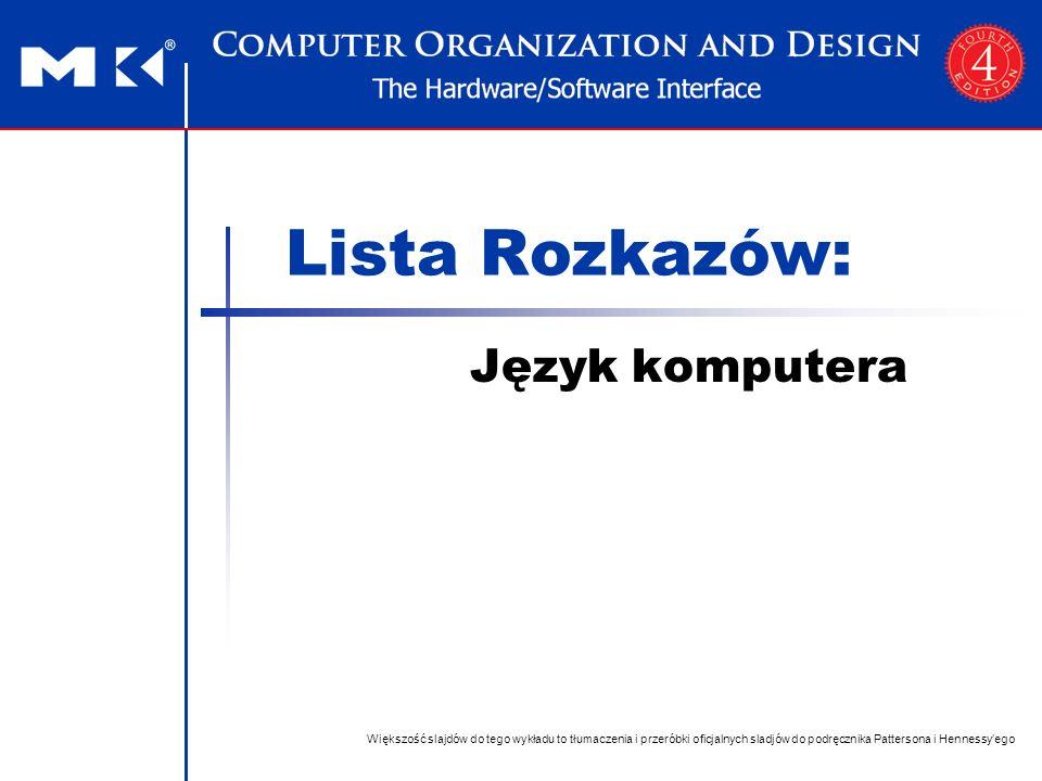 Lista Rozkazów: Język komputera Większość slajdów do tego wykładu to tłumaczenia i przeróbki oficjalnych sladjów do podręcznika Pattersona i Hennessy'