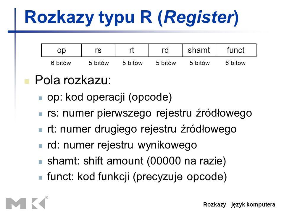 Rozkazy – język komputera Rozkazy typu R (Register) Pola rozkazu: op: kod operacji (opcode) rs: numer pierwszego rejestru źródłowego rt: numer drugieg