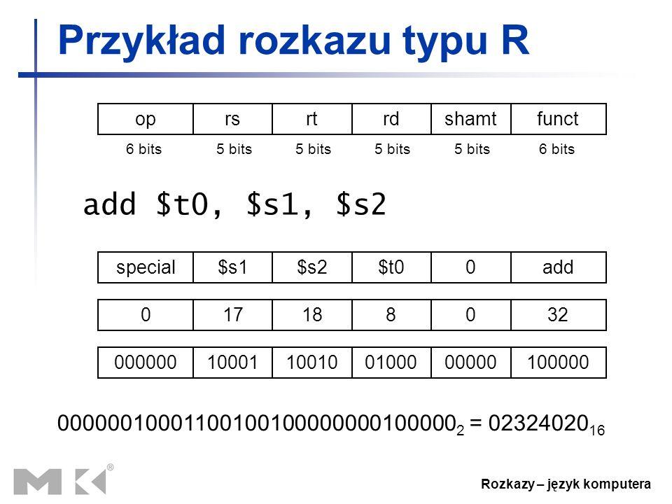 Rozkazy – język komputera Przykład rozkazu typu R add $t0, $s1, $s2 special$s1$s2$t00add 017188032 00000010001100100100000000100000 000000100011001001
