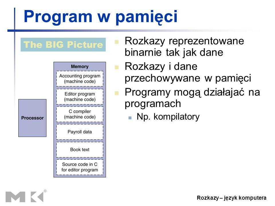 Rozkazy – język komputera Program w pamięci Rozkazy reprezentowane binarnie tak jak dane Rozkazy i dane przechowywane w pamięci Programy mogą działaja