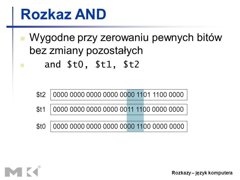 Rozkazy – język komputera Rozkaz AND Wygodne przy zerowaniu pewnych bitów bez zmiany pozostałych and $t0, $t1, $t2 0000 0000 0000 0000 0000 1101 1100