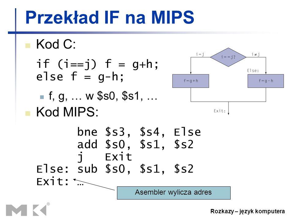 Rozkazy – język komputera Przekład IF na MIPS Kod C: if (i==j) f = g+h; else f = g-h; f, g, … w $s0, $s1, … Kod MIPS: bne $s3, $s4, Else add $s0, $s1,