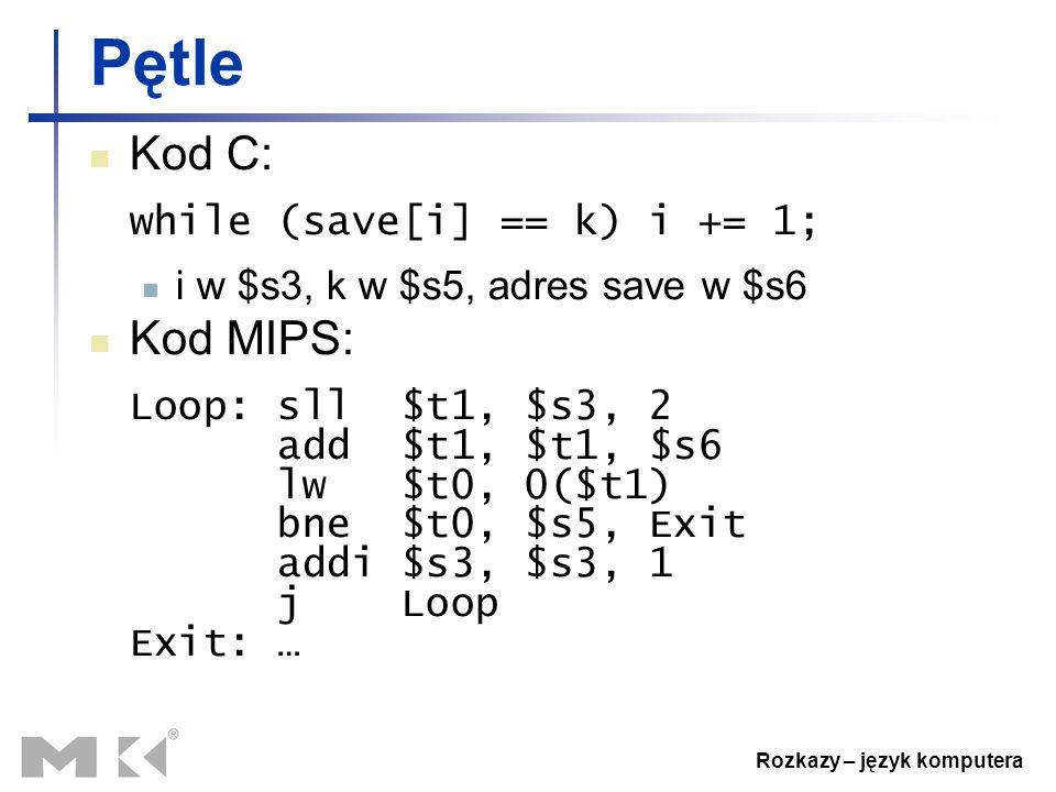 Rozkazy – język komputera Pętle Kod C: while (save[i] == k) i += 1; i w $s3, k w $s5, adres save w $s6 Kod MIPS: Loop: sll $t1, $s3, 2 add $t1, $t1, $