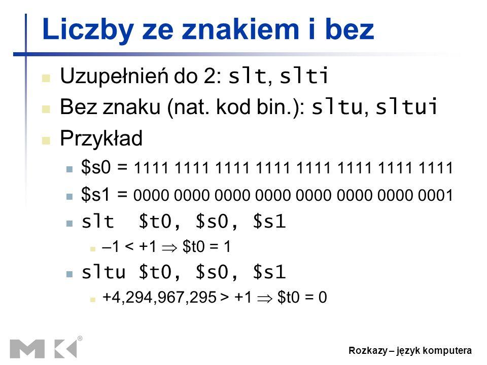 Rozkazy – język komputera Liczby ze znakiem i bez Uzupełnień do 2: slt, slti Bez znaku (nat. kod bin.): sltu, sltui Przykład $s0 = 1111 1111 1111 1111