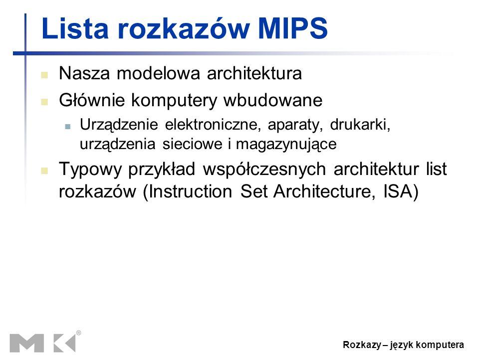 Rozkazy – język komputera Lista rozkazów MIPS Nasza modelowa architektura Głównie komputery wbudowane Urządzenie elektroniczne, aparaty, drukarki, urz