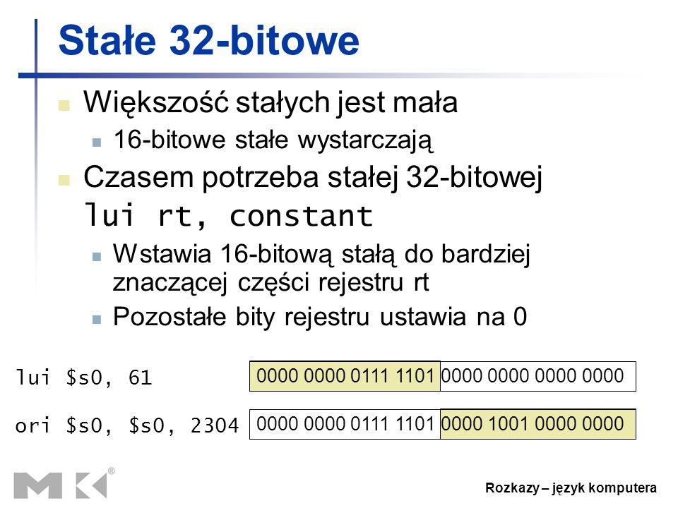 Rozkazy – język komputera 0000 0000 0111 1101 0000 0000 0000 0000 Stałe 32-bitowe Większość stałych jest mała 16-bitowe stałe wystarczają Czasem potrz