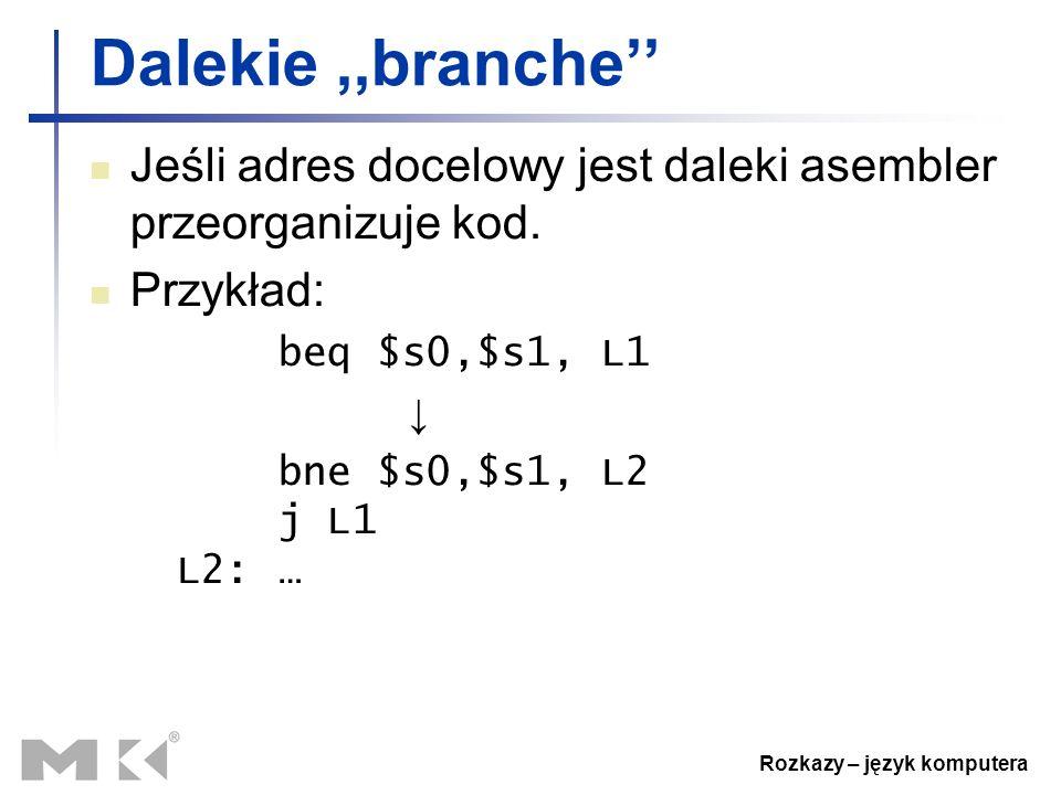 Rozkazy – język komputera Dalekie,,branche'' Jeśli adres docelowy jest daleki asembler przeorganizuje kod. Przykład: beq $s0,$s1, L1 ↓ bne $s0,$s1, L2