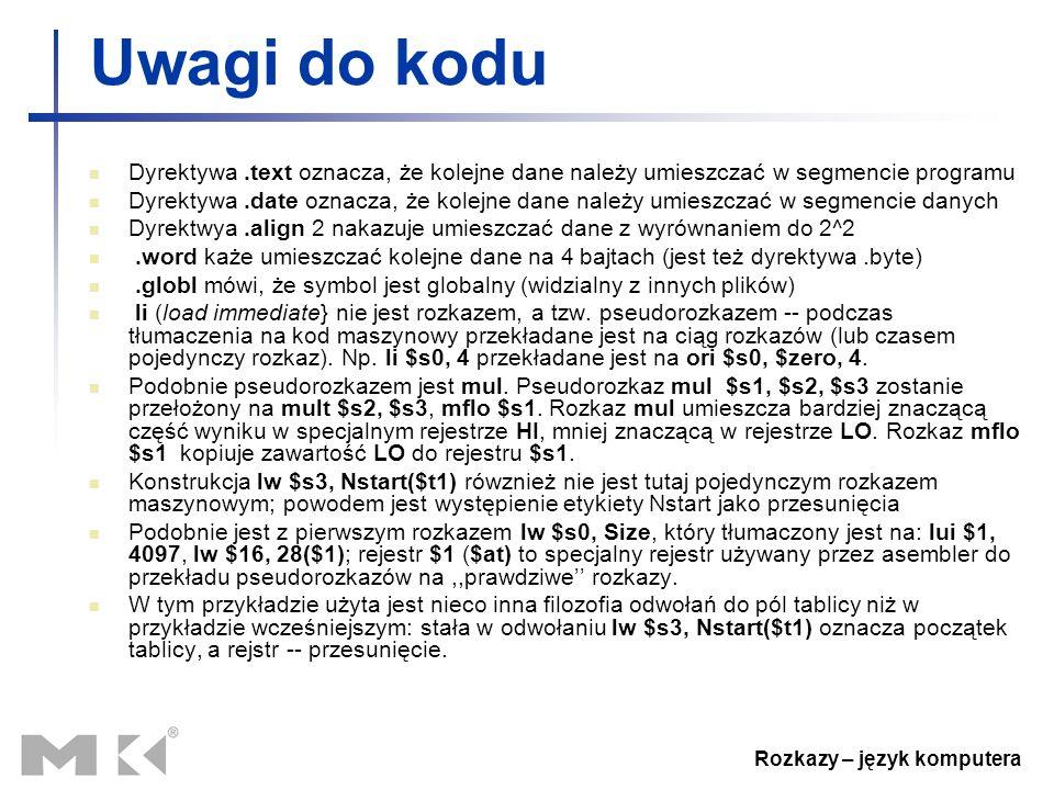 Rozkazy – język komputera Uwagi do kodu Dyrektywa.text oznacza, że kolejne dane należy umieszczać w segmencie programu Dyrektywa.date oznacza, że kole