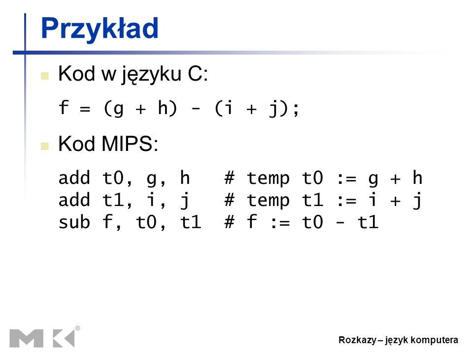Rozkazy – język komputera Przykład Kod w języku C: f = (g + h) - (i + j); Kod MIPS: add t0, g, h # temp t0 := g + h add t1, i, j # temp t1 := i + j su