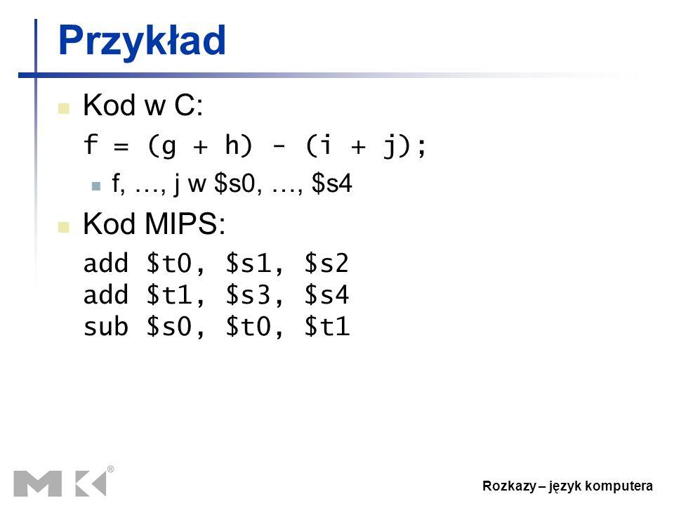 Rozkazy – język komputera Przykład Kod w C: f = (g + h) - (i + j); f, …, j w $s0, …, $s4 Kod MIPS: add $t0, $s1, $s2 add $t1, $s3, $s4 sub $s0, $t0, $