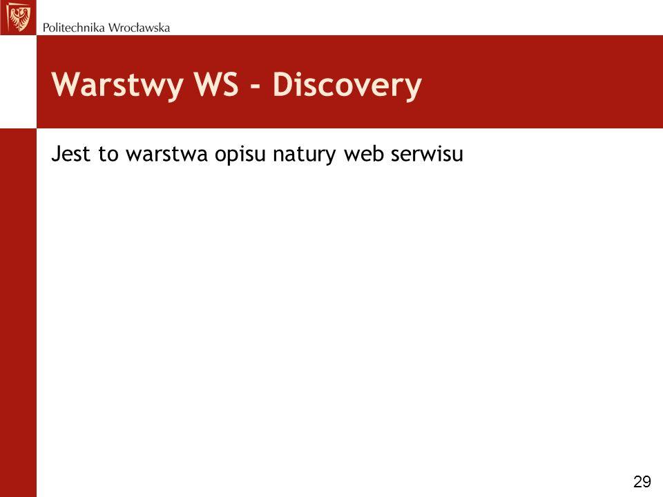 Warstwy WS - Discovery Jest to warstwa opisu natury web serwisu 29