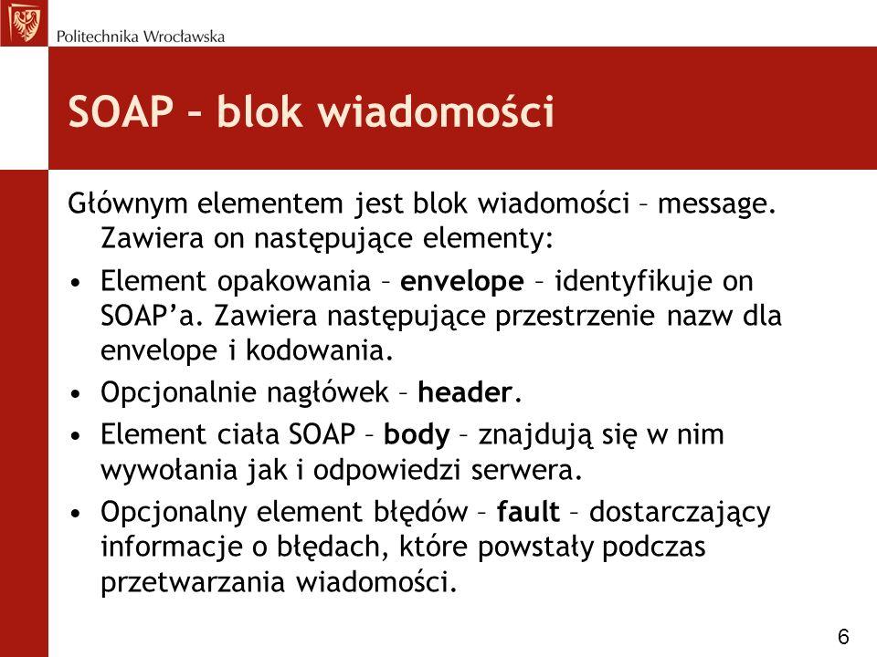 SOAP – blok wiadomości Głównym elementem jest blok wiadomości – message.