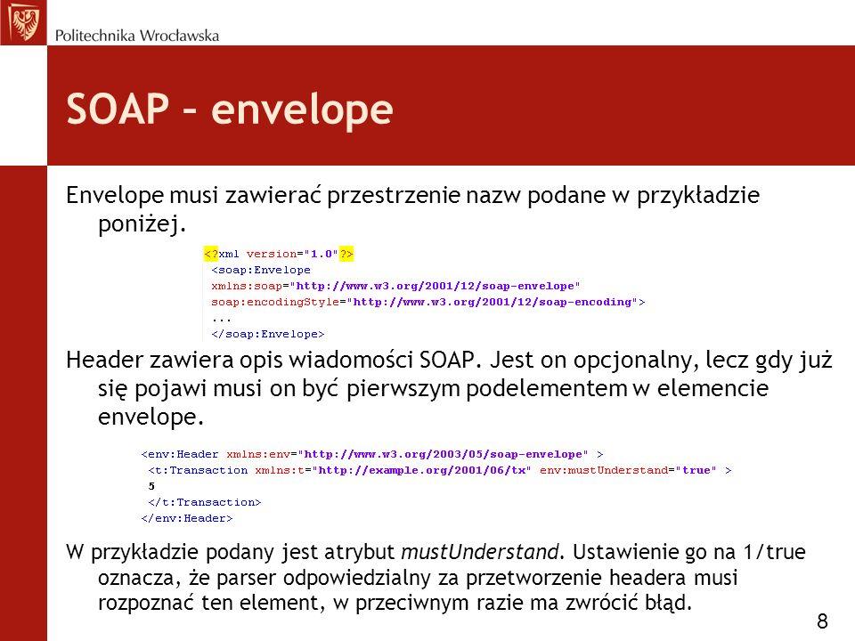 SOAP – envelope Envelope musi zawierać przestrzenie nazw podane w przykładzie poniżej.