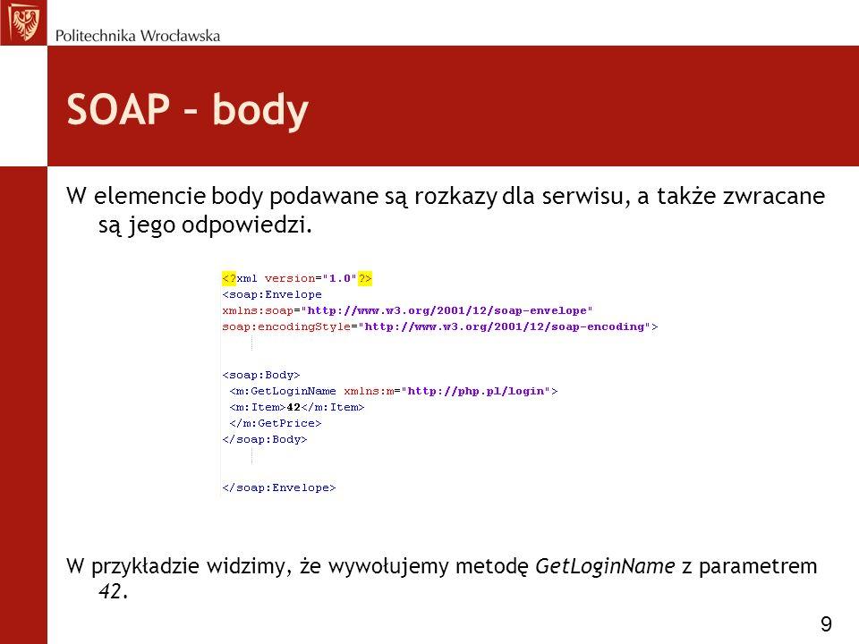 SOAP – body W elemencie body podawane są rozkazy dla serwisu, a także zwracane są jego odpowiedzi.