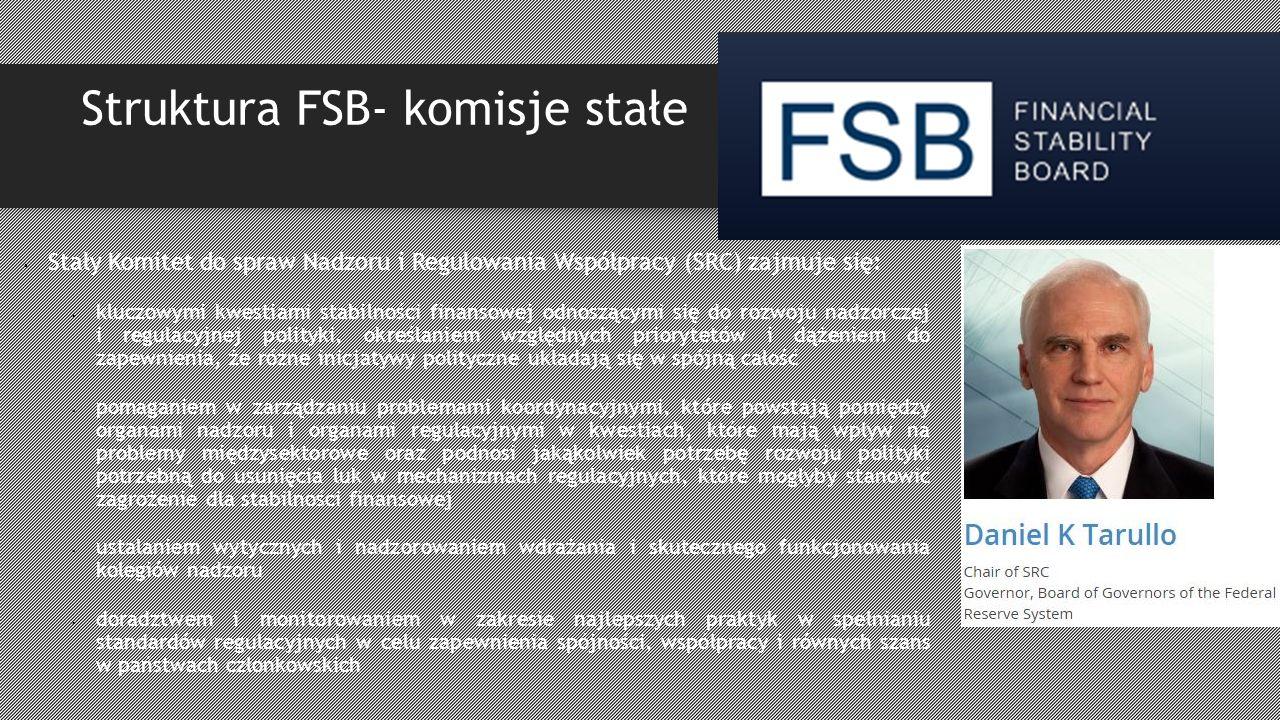 Struktura FSB- komisje stałe Stały Komitet do spraw Nadzoru i Regulowania Współpracy (SRC) zajmuje się: kluczowymi kwestiami stabilności finansowej odnoszącymi się do rozwoju nadzorczej i regulacyjnej polityki, określaniem względnych priorytetów i dążeniem do zapewnienia, że różne inicjatywy polityczne układają się w spójną całość pomaganiem w zarządzaniu problemami koordynacyjnymi, które powstają pomiędzy organami nadzoru i organami regulacyjnymi w kwestiach, które mają wpływ na problemy międzysektorowe oraz podnosi jakąkolwiek potrzebę rozwoju polityki potrzebną do usunięcia luk w mechanizmach regulacyjnych, które mogłyby stanowić zagrożenie dla stabilności finansowej ustalaniem wytycznych i nadzorowaniem wdrażania i skutecznego funkcjonowania kolegiów nadzoru doradztwem i monitorowaniem w zakresie najlepszych praktyk w spełnianiu standardów regulacyjnych w celu zapewnienia spójności, współpracy i równych szans w państwach członkowskich