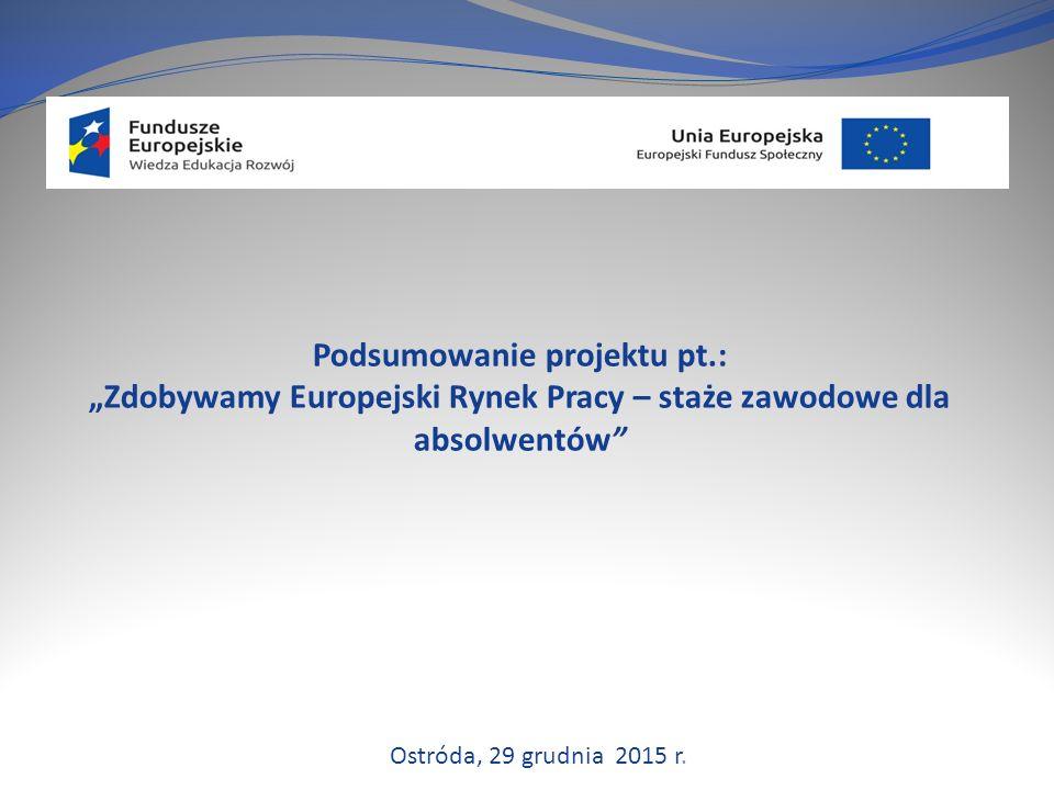 """Podsumowanie projektu pt.: """"Zdobywamy Europejski Rynek Pracy – staże zawodowe dla absolwentów Ostróda, 29 grudnia 2015 r."""