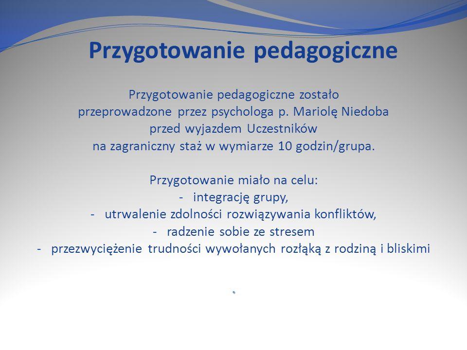 Przygotowanie pedagogiczne Przygotowanie pedagogiczne zostało przeprowadzone przez psychologa p.