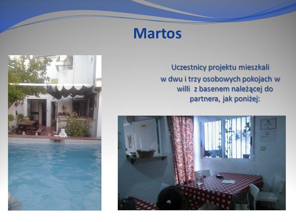 Martos Uczestnicy projektu mieszkali w dwu i trzy osobowych pokojach w willi z basenem należącej do partnera, jak poniżej: