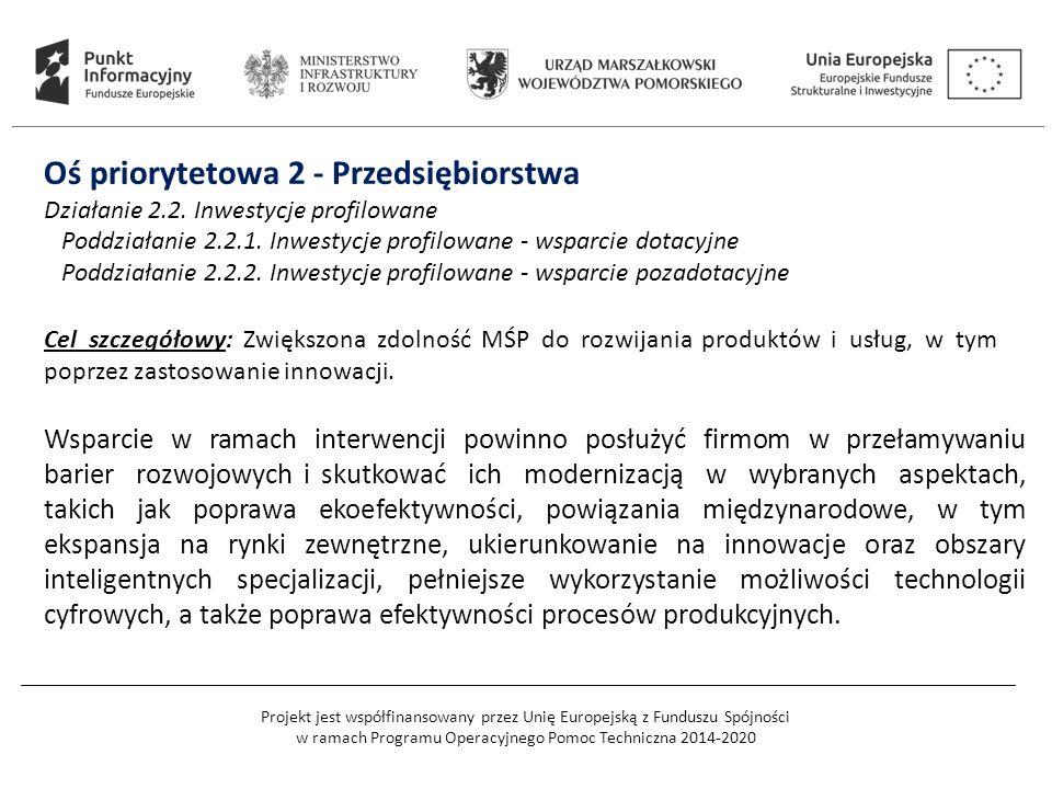 Projekt jest współfinansowany przez Unię Europejską z Funduszu Spójności w ramach Programu Operacyjnego Pomoc Techniczna 2014-2020 Oś priorytetowa 2 - Przedsiębiorstwa Działanie 2.2.