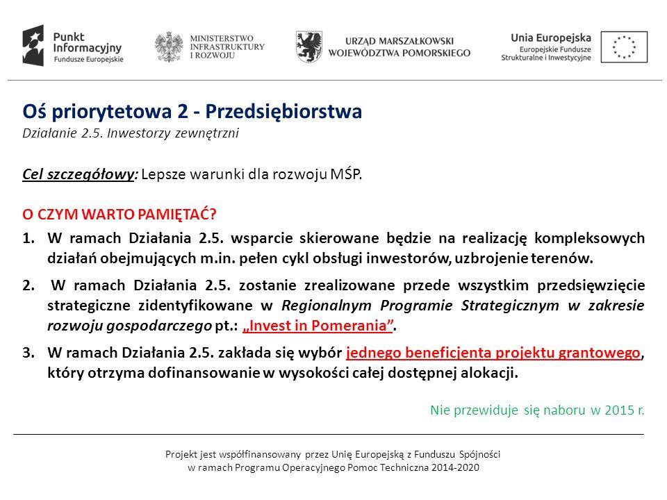 Projekt jest współfinansowany przez Unię Europejską z Funduszu Spójności w ramach Programu Operacyjnego Pomoc Techniczna 2014-2020 Oś priorytetowa 2 - Przedsiębiorstwa Działanie 2.5.
