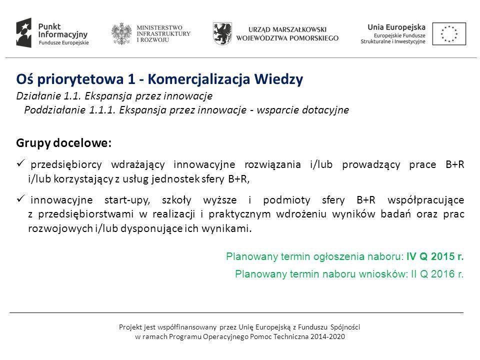Projekt jest współfinansowany przez Unię Europejską z Funduszu Spójności w ramach Programu Operacyjnego Pomoc Techniczna 2014-2020 Oś priorytetowa 1 - Komercjalizacja Wiedzy Działanie 1.1.