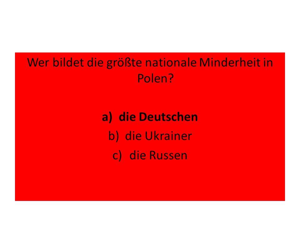 Nach der Volkszählung von 2011 sind wie viel % der in Polen lebenden Menschen polnische Staatsbürger? a)99,7% b)90,5% c)80,3%