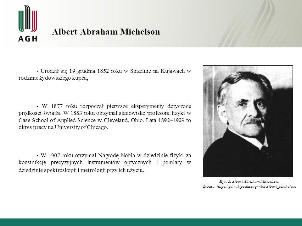 Albert Abraham Michelson - Urodził się 19 grudnia 1852 roku w Strzelnie na Kujawach w rodzinie żydowskiego kupca, - W 1877 roku rozpoczął pierwsze eksperymenty dotyczące prędkości światła.