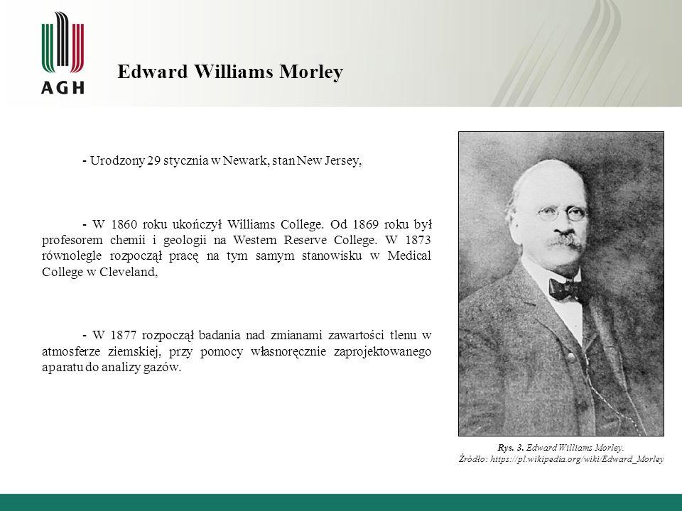 Edward Williams Morley - Urodzony 29 stycznia w Newark, stan New Jersey, - W 1860 roku ukończył Williams College.