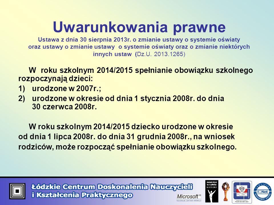 Uwarunkowania prawne Ustawa z dnia 30 sierpnia 2013r. o zmianie ustawy o systemie oświaty oraz ustawy o zmianie ustawy o systemie oświaty oraz o zmian